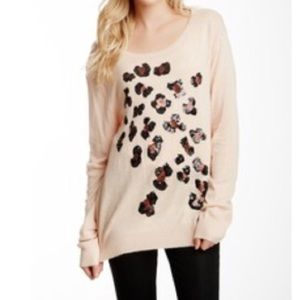 Wildfox White Label Sequin Cheetah Print Sweater